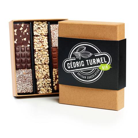 Notre offre entreprises : Coffret assorti de mini-tablettes chocolat noir, beurre salé, amande, noisette et rochers pralinés - Cédric Turmel