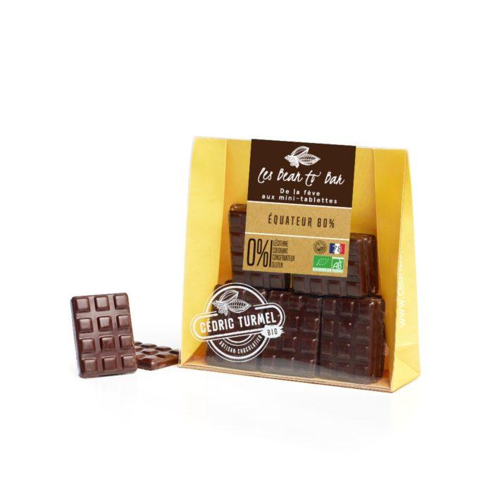 Mini-tablette de chocolat noir fabriquée avec des fèves d'Equateur 80%, Bearn to Bar - Cedric Turmel artisan chocolatier
