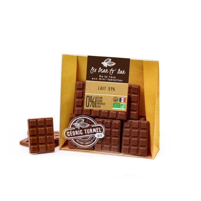 Mini-tablettes chocolat au lait - Cédric Turmel artisan chocolatier