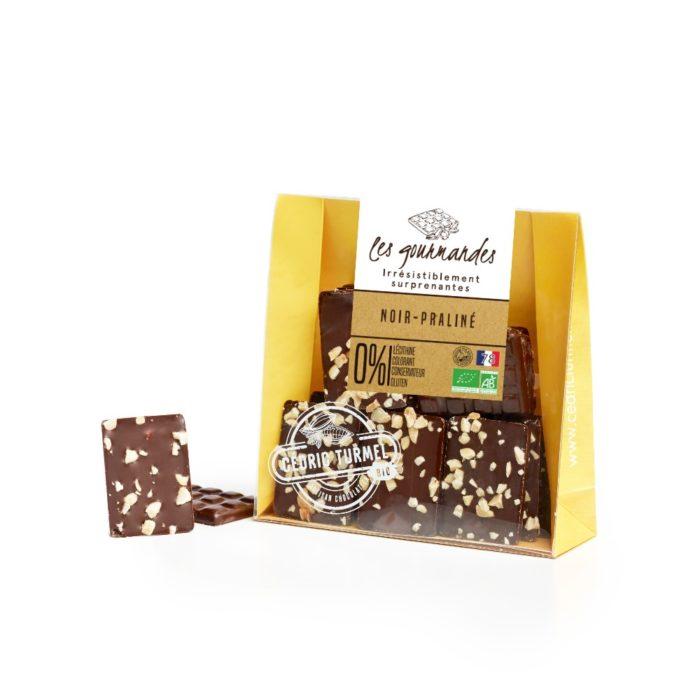 chocolat noir praliné amandes et noisettes bio