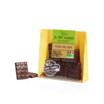 Mini-tablettes de chocolat noir fabriquées avec des fèves du Pérou 100% - Cedric Turmel artisan chocolatier