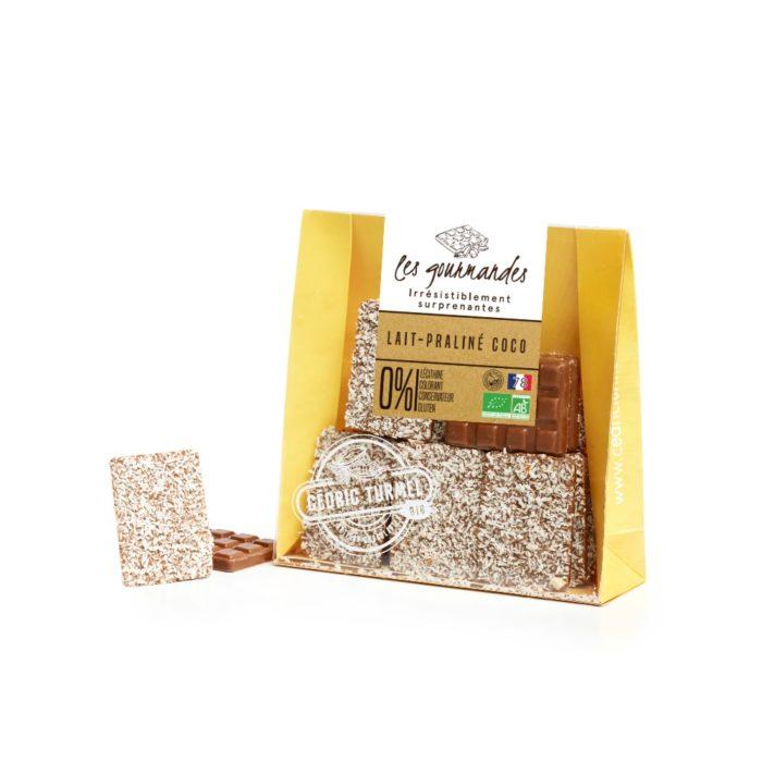 Mini-tablette chocolat au lait praliné coco - Cédric Turmel artisan chocolatier 100% bio