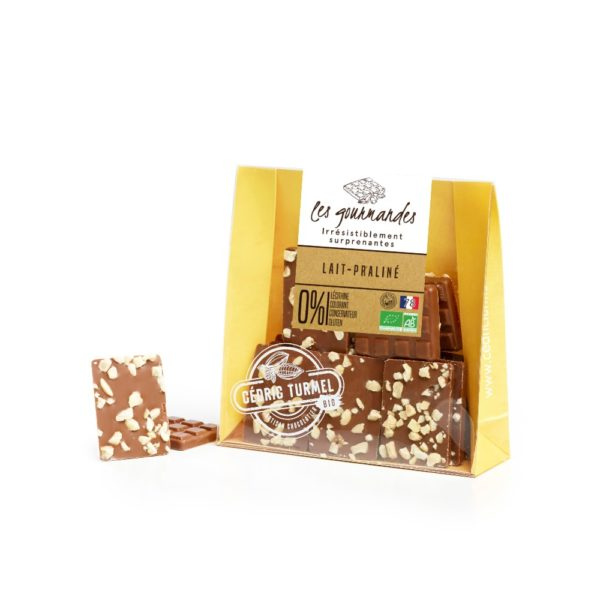chocolat au lait praliné amandes et noisettes bio