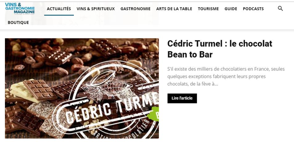 Presse : La fabrication Bean to Bar réalisée par Cédric Turmel dans Vin & Gastronomie Magazine - Cédric Turmel