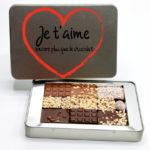 Boite métal personnalisable - assortiment de mini-tablettes de chocolats caramel, noir du Pérou, lait - Cédric Turmel artisan chocolatier