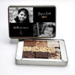 Boite métal personnalisable - assortiment de mini-tablettes de chocolats pralinés, au lait, noir, coco - Cédric Turmel artisan chocolatier