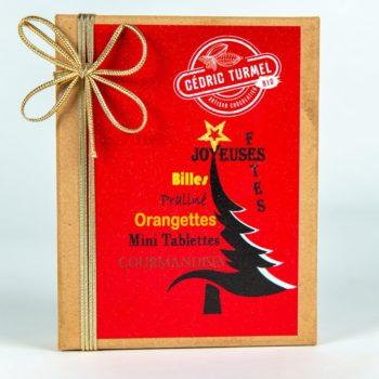 Boîte krafts Noël rouge - Cédric Turmel artisan chocolatier 100% bio